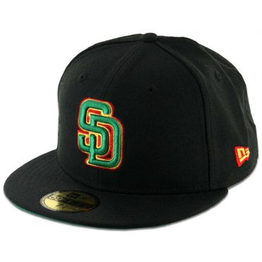 New Era 59Fifty San Diego Padres Fitted Black Rasta Hat