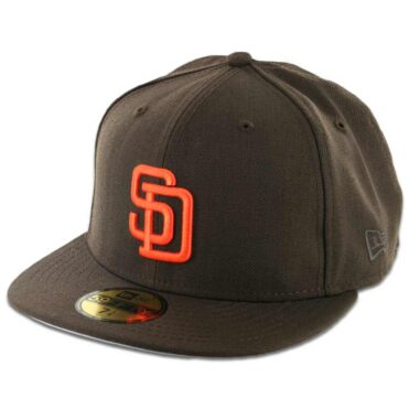 New Era 59Fifty San Diego Padres Cooperstown Fitted Dark Brown, Orange Hat