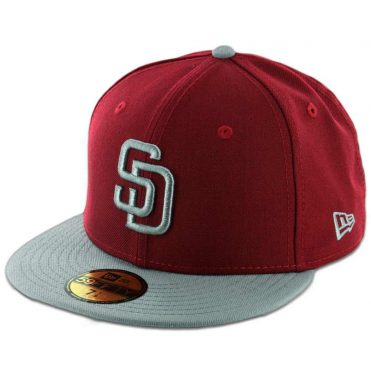 New Era 59Fifty San Diego Padres 2 Tone Fitted Cardinal Red, Storm Grey-Storm Grey Hat