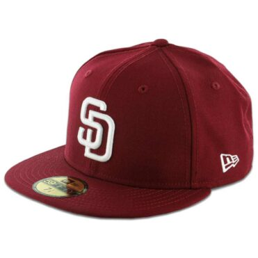 New Era 5950 San Diego Padres Fitted Cardinal Red, White Hat