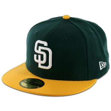 New Era 5950 San Diego Padres 2 Tone Fitted Dark Green, White-Gold Hat