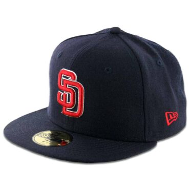 New Era 59Fifty San Diego Padres Fitted Dark Navy, Scarlet Red, White Hat