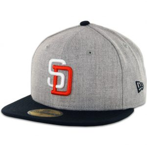 New Era 5950 San Diego Padres Tony Gwynn Heather Grey, Dark Navy Fitted Hat- Front