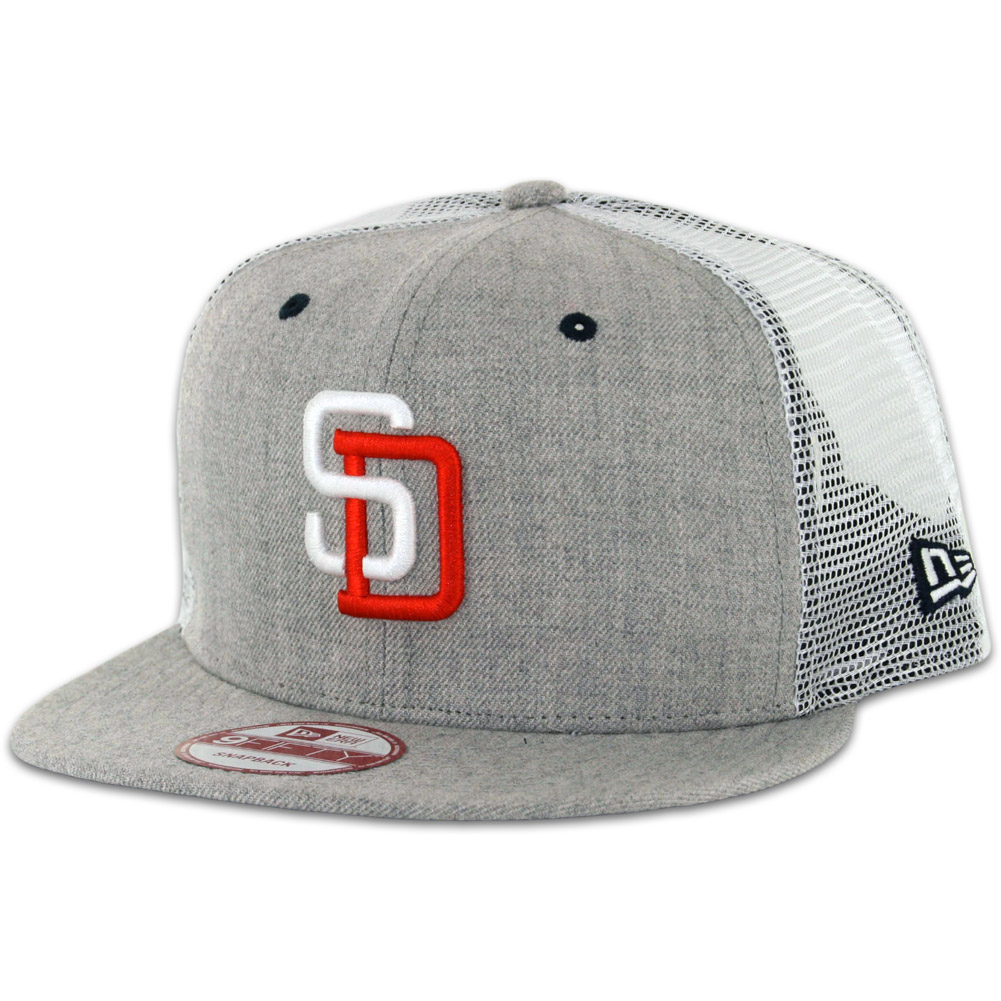 a16c6f206ce41 New Era 9Fifty San Diego Padres Tony Gwynn Heather Grey Trucker Snapback Hat  - Billion Creation Streetwear