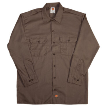 Dickies 574 Long Sleeve Dark Brown Work Shirt