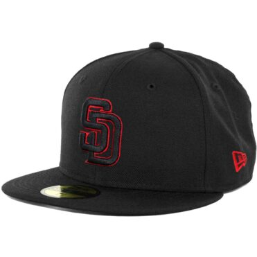 New Era 59Fifty San Diego Padres Fitted Hat, Black, Black, Red