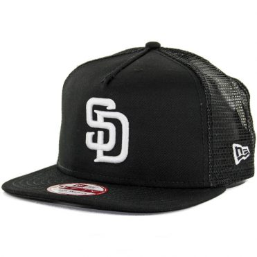 New Era 9Fifty San Diego Padres Trucker Snapback Hat, Black, White