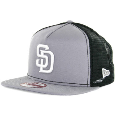 New Era 9Fifty San Diego Padres Trucker Snapback Hat, Grey, White