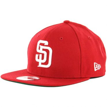 New Era 9Fifty San Diego Padres Snapback Hat, Scarlet Red, White