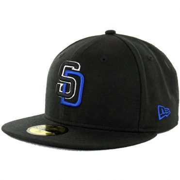 New Era 59Fifty San Diego Padres Color Logo Black | Black | White | Royal Blue Fitted Hat