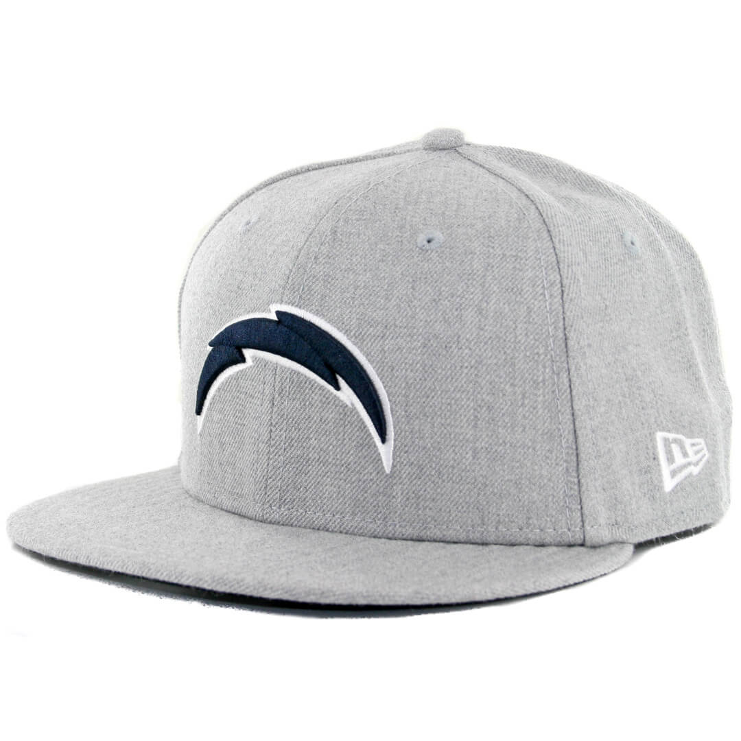 San Diego Chargers Fitted Hats: New Era 59Fifty San Diego Chargers Heather Grey Dark Navy