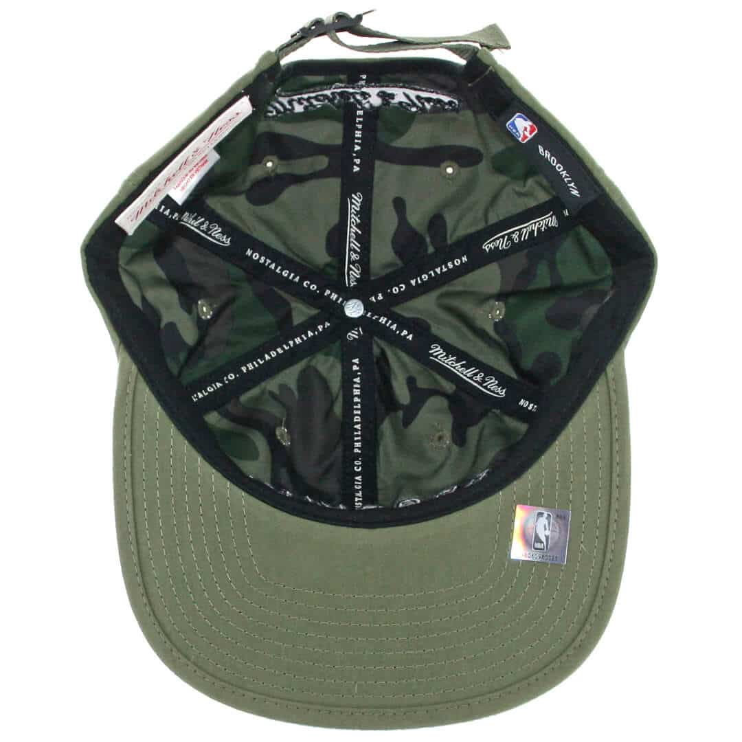 half off 260fa f8580 Mitchell   Ness Brooklyn Nets Low Profile Outdoor Olive Strapback Hat. 🔍.   30.00