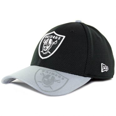 New Era 39Thirty Oakland Raiders Authentic On Field Sideline Black Grey Flexfit Hat