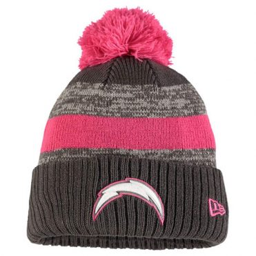 New Era San Diego Chargers Breast Cancer Awareness 2016 Sport Knit Beanie Heather Graphite