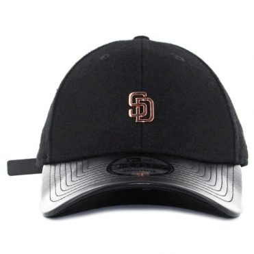 New Era x Billion Creation 9Forty San Diego Padres Metal Micro Logo Strapback Hat Black Rose