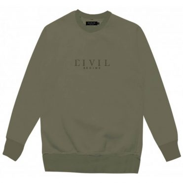 Civil Embroidered Crewneck Sweatshirt Dark Olive