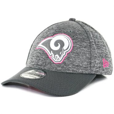 New Era 39Thirty Los Angeles Rams Breast Cancer Awareness 2016 Flexfit Hat Heather Graphite Charcoal