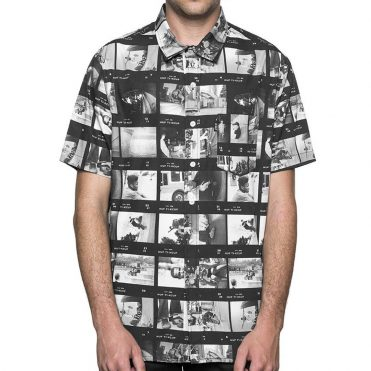 HUF Emb Short Sleeve Woven Button Up Shirt Black