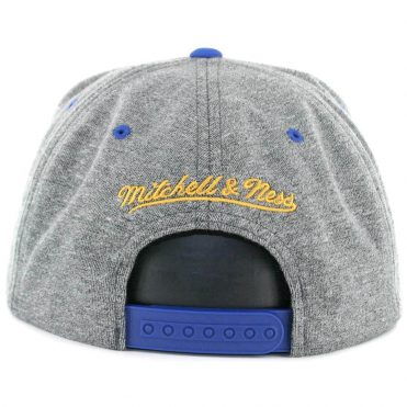 Mitchell & Ness Golden State Warriors PU Nubuck 2 T Snapback Hat Grey Royal Blue