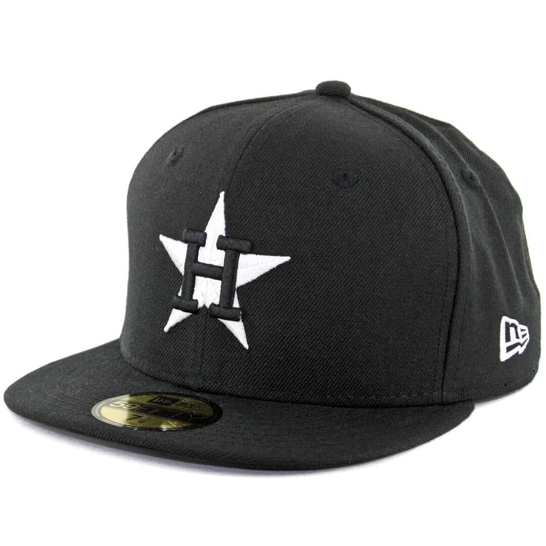 new era 59fifty houston astros fitted black white hat billion