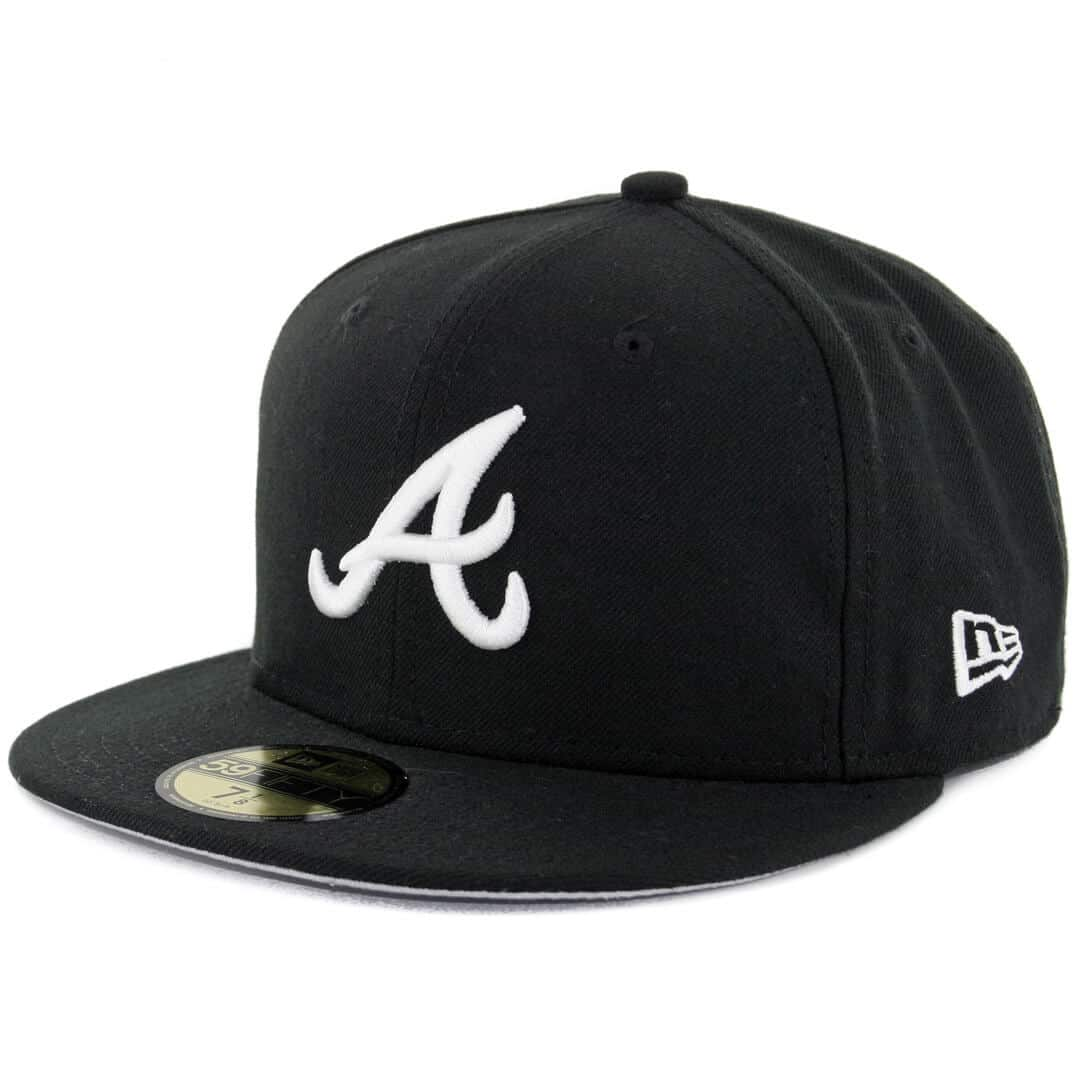 Black And White Hat Part : New era fifty atlanta braves fitted black white hat