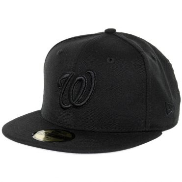 New Era 59Fifty Washington Nationals Fitted Blackout, All Black Hat
