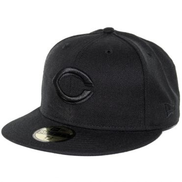 New Era 59Fifty Cincinnati Reds Fitted Blackout, All Black Hat