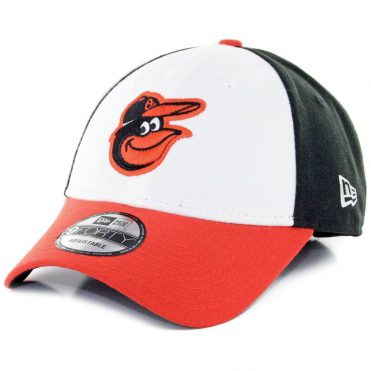 New Era 9Forty Baltimore Orioles The League Home Strapback Hat White Black Orange
