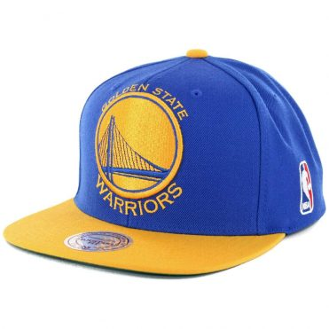 Mitchell & Ness Golden State Warriors XL Logo 2T Snapback Hat Royal Blue Yellow