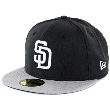 New Era 59Fifty San Diego Padres Two Tone Basic Fitted Hat Black White Heather Grey