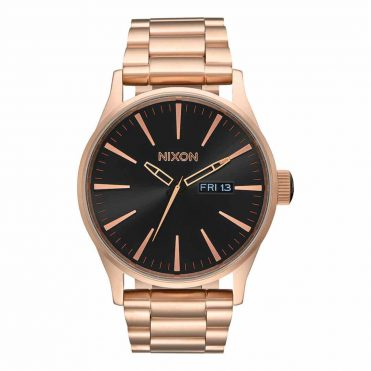 Nixon Sentry SS Watch Rose Gold Black