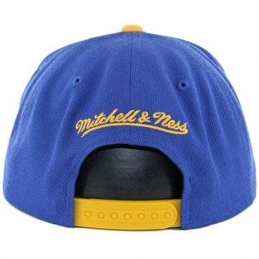 Mitchell & Ness Golden State Warriors Cursive Script Snapback Hat Royal Blue Yellow