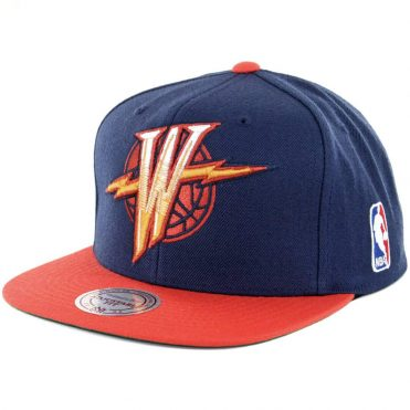 Mitchell & Ness Golden State Warriors XL Logo Two Tone Snapback Hat Navy Orange