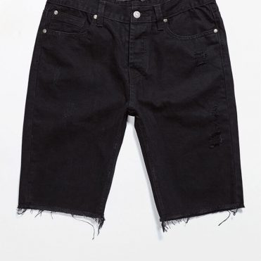 Civil Slash Denim Shorts Black