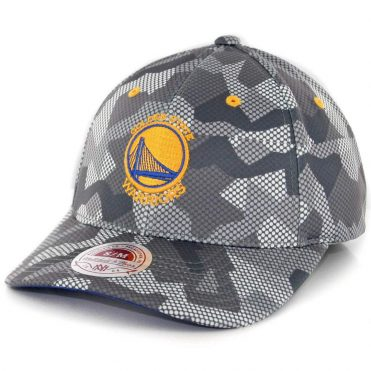Mitchell & Ness Golden State Warriors Carbon Camo Flexfit Hat