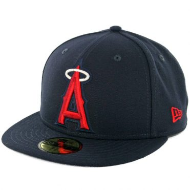 New Era 59Fifty Los Angeles Angels Logo Popped Fitted Hat Dark Navy