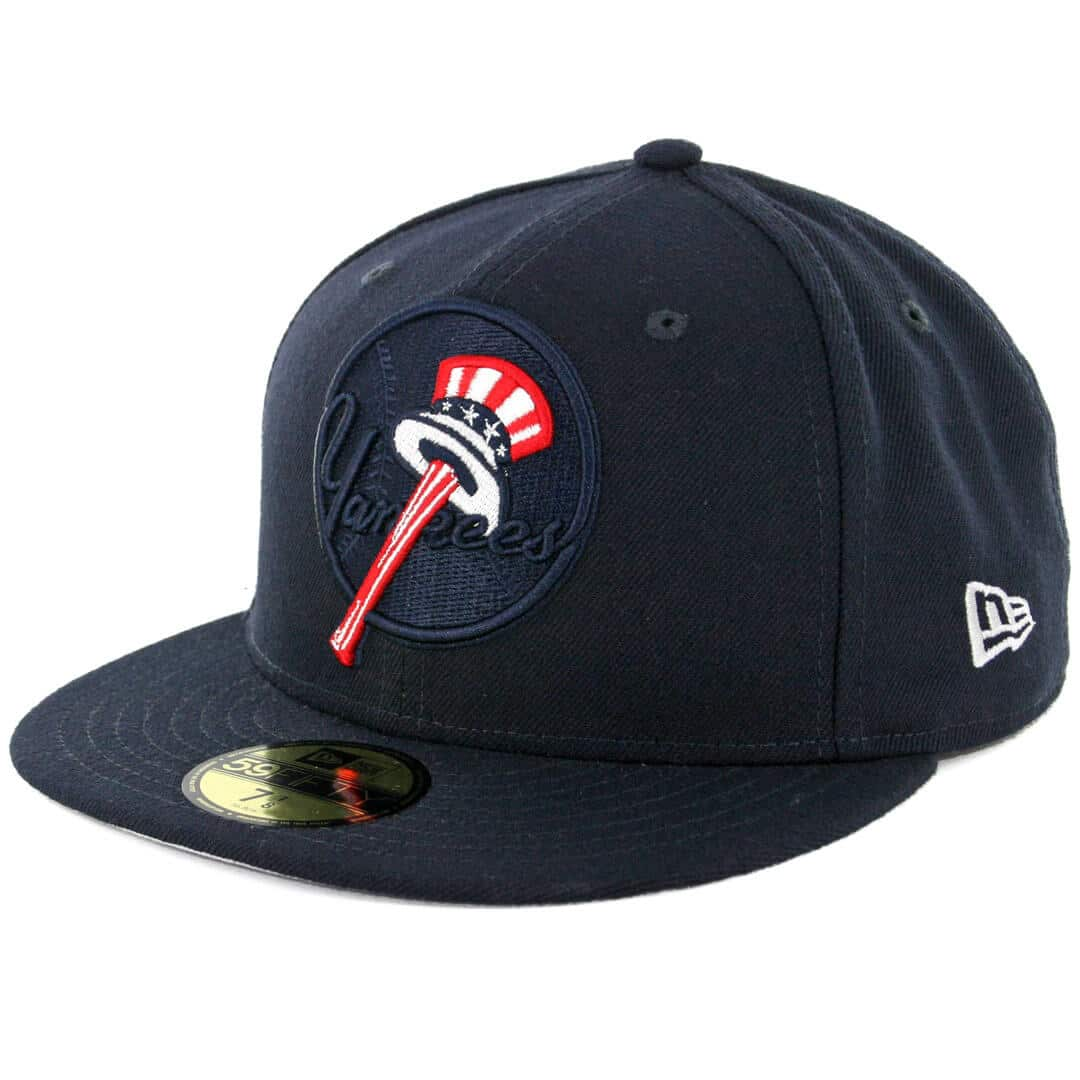 New Era 59Fifty York Yankees Logo Popped Fitted Hat Dark Navy