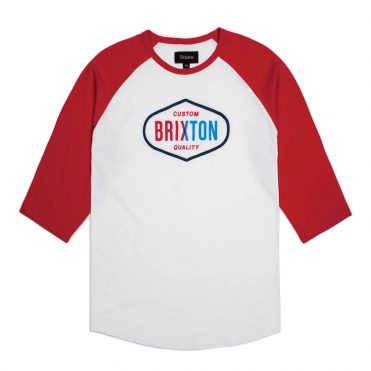Brixton Oakland 3/4 Sleeve T-Shirt White Red