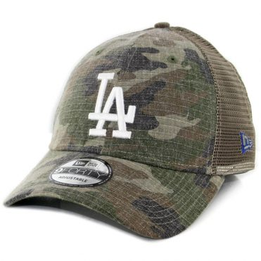New Era 9Forty Los Angeles Dodgers Trucker Duel Snapback Hat Woodland Camouflage
