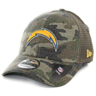 New Era 9Forty Los Angeles Chargers Trucker Duel Snapback Hat Woodland Camouflage