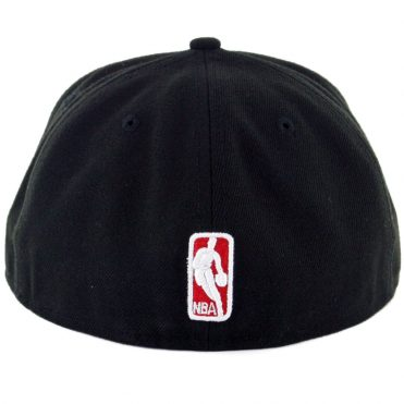 New Era 59Fifty Chicago Bulls Leather Pop Fitted Hat Black Red