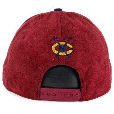 New Era 9Fifty Chicago Blackhawks Suede Snapback Hat Cardinal Ocean Blue