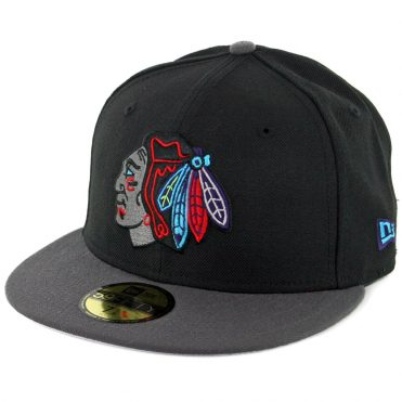 New Era 59Fifty Chicago Blackhawks Fitted Hat Black Graphite