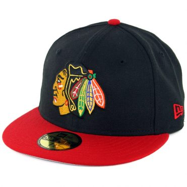 New Era 59Fifty Chicago Blackhawks Fitted Hat Black Scarlet Red
