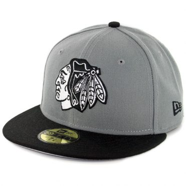 New Era 59Fifty Chicago Blackhawks Fitted Hat Storm Gray White Black