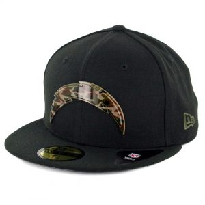 promo code 7c99c ff0df New Era 59Fifty Los Angeles Chargers Camo Badge Fitted Hat Black - Billion  Creation Streetwear