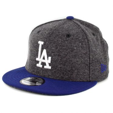 New Era 9Fifty Los Angeles Dodgers Tweed Turn Snapback Hat Heather Graphite Royal Blue