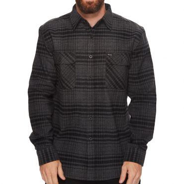 Brixton Bowery Long Sleeve Flannel Shirt Black Heather Charcoal
