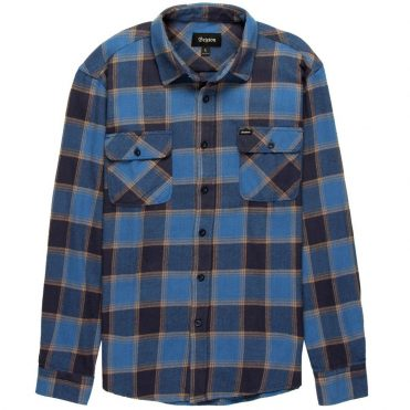 Brixton Bowery Long Sleeve Flannel Shirt Blue Navy