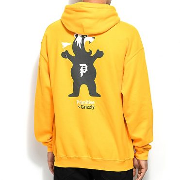 Primitive x Grizzly Mascot Hooded Sweatshirt Yellow